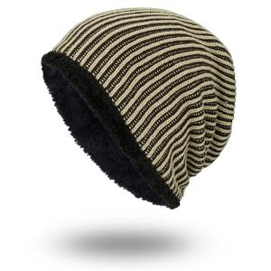 Stripe Velvet Lining Knitted Warm Beanie - Earthy