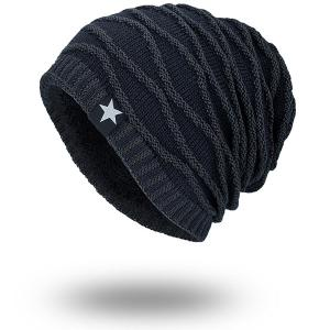 Wave Striped Velvet Lining Knitted Warm Beanie - Cadetblue