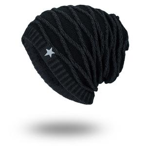 Wave Striped Velvet Lining Knitted Warm Beanie - Full Black - One Size