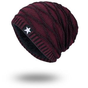 Wave Striped Velvet Lining Knitted Warm Beanie - Wine Red