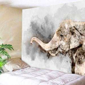 Home Decor Oil Painting Elephant Wall Tapestry - Gray - W59 Inch * L79 Inch