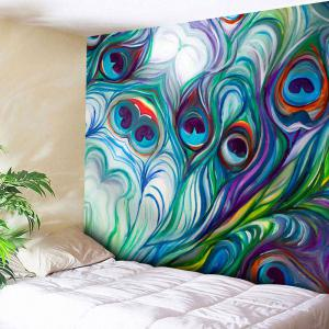 Peacock Feather Print Wall Hanging Tapestry - Peacock - W59 Inch * L59 Inch