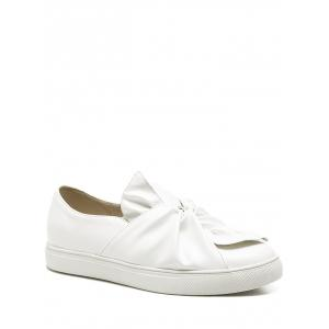 Faux Leather Bow Flat Shoes - White - 38