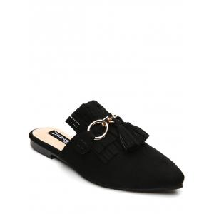 Tassels Pointed Toe Slippers - Black - 38