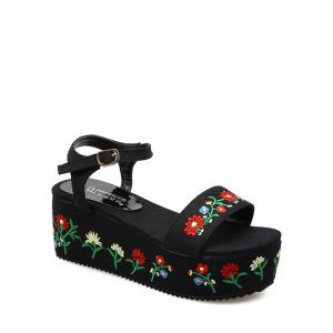 Embroidery Denim Platform Sandals