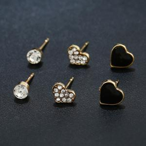 Rhinestone Heart Three Pairs of Earrings - Golden