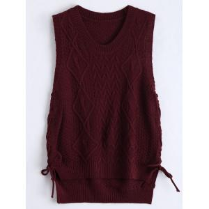 High Low Lace Up Knitted Vest