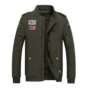 Flag and Shark Embroider Zip Up Jacket