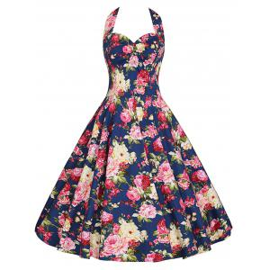 Floral Print Halter Plus Size Vintage Dress