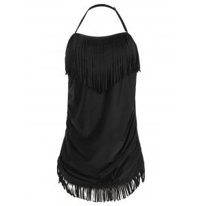 Plus Size Halter Fringe Bathing Suit