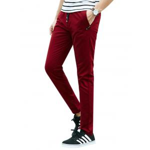 Drawstring Multi Pockets Design Casual Pants - Deep Red - Xl