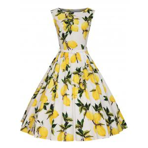 A Line Lemon Print Plus Size Vintage Dress - White - 3xl