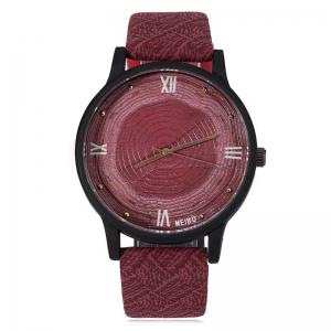 Wood Growth Rings Face Faux Leather Strap Watch - Wine Red - W24 Inch * L71 Inch