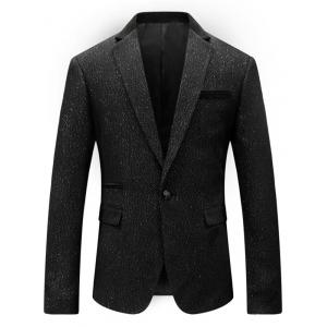 One Button Glittering Blazer Suit - Noir L
