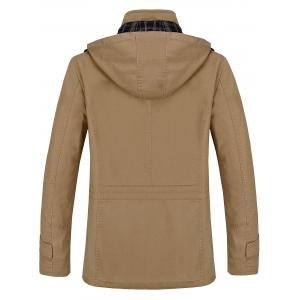 Snap Button Pocket Hooded Coat - KHAKI XL