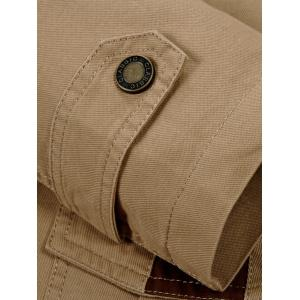 Snap Button Pocket Hooded Coat - KHAKI 4XL