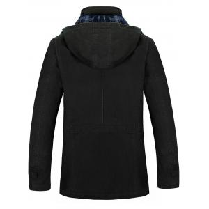 Snap Button Pocket Hooded Coat - BLACK 4XL