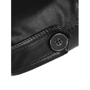 Epaulet Stand Collar PU Leather Longline Fleece Coat -