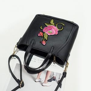 Flower Embroidery PU Leather Tote Bag - BLACK