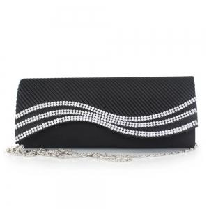 Rhinestone Satin Pleated Evening Bag -