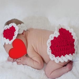 Tricoté Love Heart Photography Set de vêtements pour bébé -