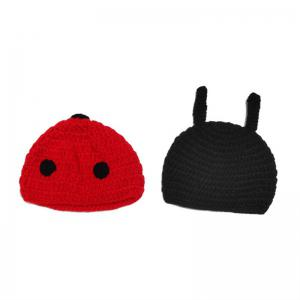 Ladybird Knit Photography Clothes Set For Baby - BLACK RED