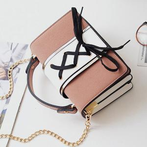 Lace Up Suede Panel Crossbody Bag - PINK