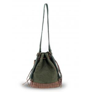 Linen Ethnic Convertible Backpack - ARMY GREEN
