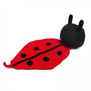 Baby Photography Knitted Beetle Hooded Blanket - BLACK RED