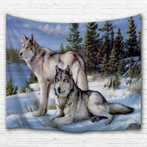 Fabric Wall Hanging colormix w59 inch * l79 inch snow wolf fabric wall hanging