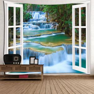 Window Scenery Printed Wall Hanging Tapestry - GREEN W79 INCH * L59 INCH