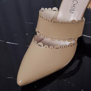 Scalloped Stiletto Heel Slippers - APRICOT 38