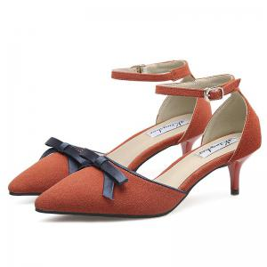Two Piece Bowknot Suede Pumps - DEEP ORANGE 39