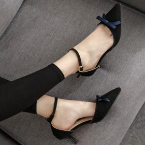 Two Piece Bowknot Suede Pumps - BLACK 37