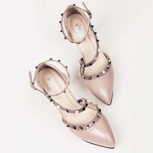 Studded Pointed Toe High Heel Pumps -