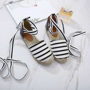 Striped Pattern Espadrilles Flat Shoes - WHITE AND BLACK 41