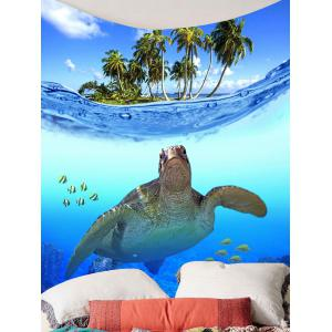 Sea Turtle Fish Palm Print Wall Hanging Tapestry -