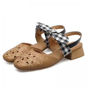 Hollow Out Plaid Pattern Sandals - BROWN 39