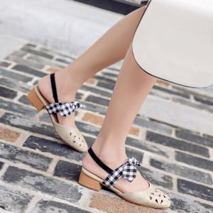 Hollow Out Plaid Pattern Sandals - APRICOT 37