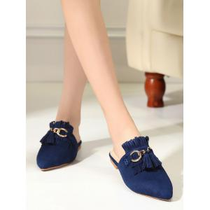 Tassels Pointed Toe Slippers - BLUE 37