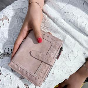 Stitching Bifold Small Wallet - LIGHT PINK