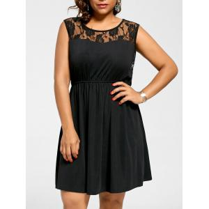 Sleeveless Plus Size Lace Yoke Skater Dress - Black - 3xl