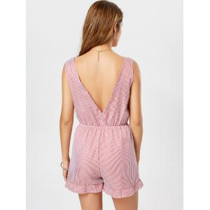 Low Cut Self Tie sans manches rayé Romper - Rouge S
