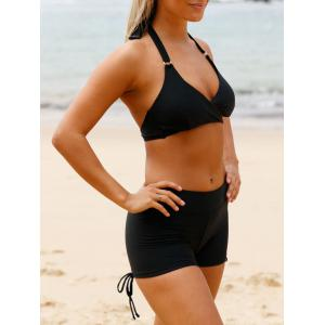 Halter Wrap Boy Shorts Ensemble de bikini - Noir S