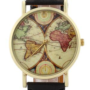 World Map Face Faux Leather Strap Quartz Watch - Noir