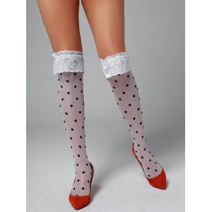 Overknee Polka Dot Lace Insert Tights - White - One Size