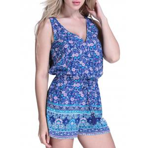 Floral Cover Up Romper - BLUE M
