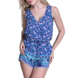Floral Cover Up Romper - BLUE L
