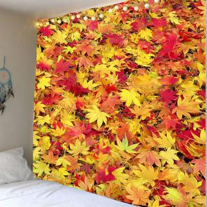 Maple Leaf Print Wall Art Tapestry - Orange Red - W79 Inch * L71 Inch