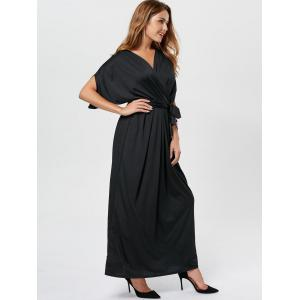 V Neck Surplice Party Long Dress - BLACK S